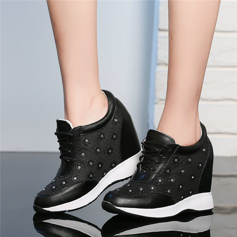 2019 Breathable Rivets Trainers Shoes Women Genuine Leather Wedges High Heel Pumps Lace Up Summer Ankle Boots Punk Tennis Shoes in Ankle Boots from Shoes