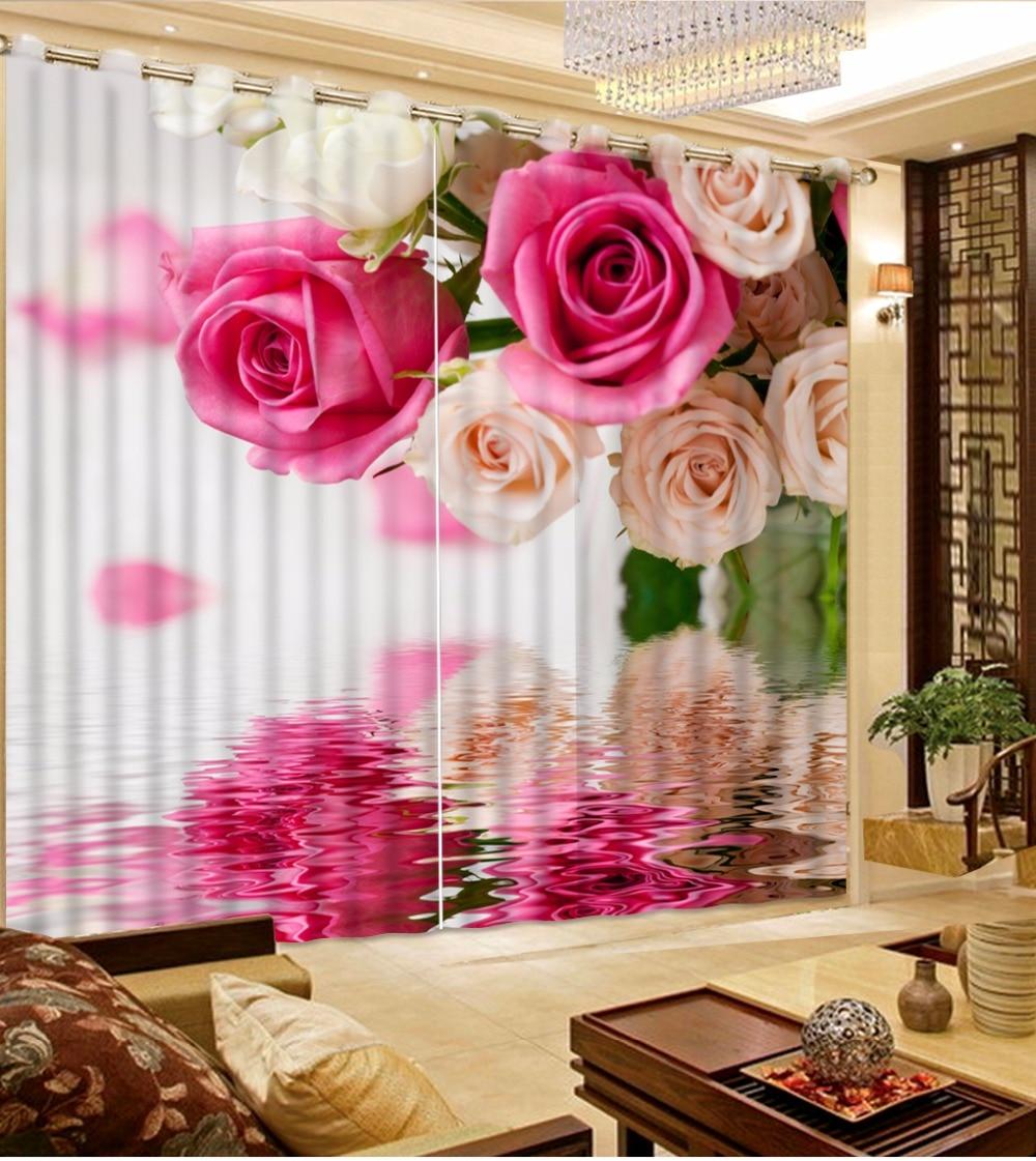 European Curtains Custom Elegent rose Curtains For Living Room Bedroom 3D Photo Window Curtains Drapes Blackout CurtainsEuropean Curtains Custom Elegent rose Curtains For Living Room Bedroom 3D Photo Window Curtains Drapes Blackout Curtains