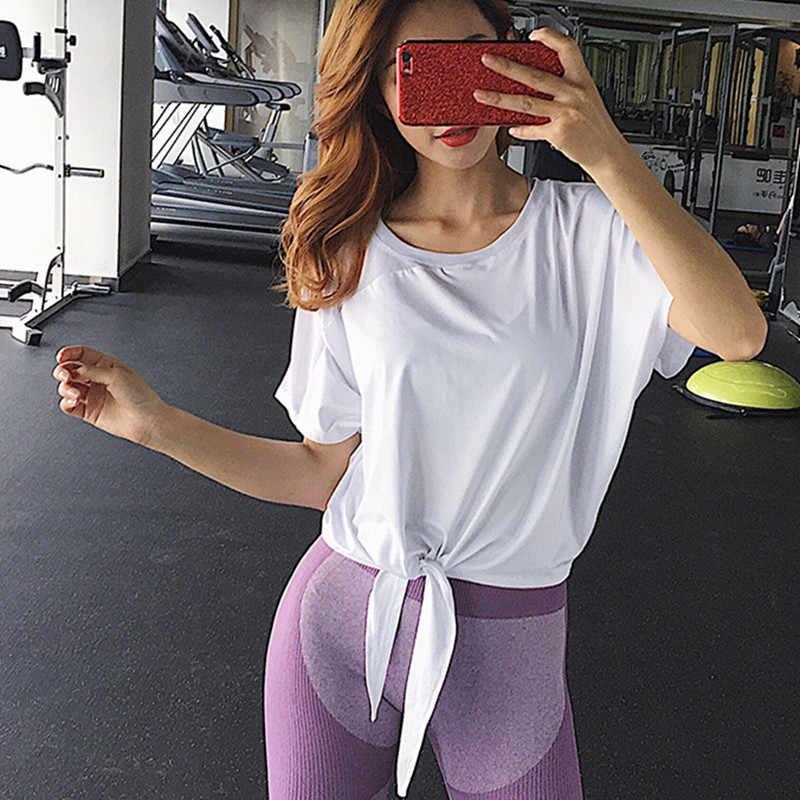 Fitness kobiety Sport topy luźne odzież sportowa dla kobiet siłownia do biegania Mesh bandaż z krótkim rękawem joga trening topy