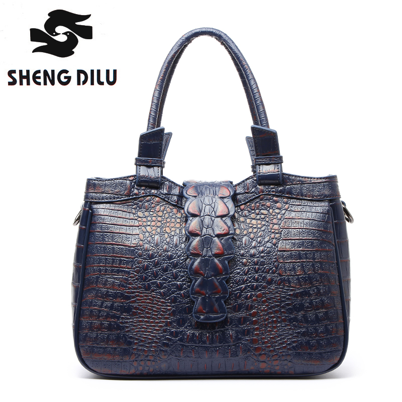 Designer handbags women genuine leather bag female high quality famous brand top-handle crocodile casual tote shoulder bags цена