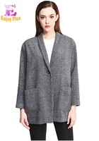 Chest 102 130cm Spring Winter 2016 Blazer Women Grey Plus Size Female And Jacket Long Sleeve