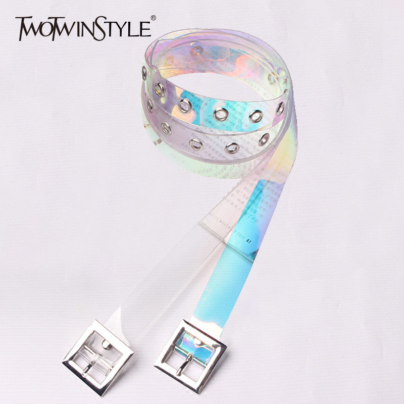 TWOTWINSTYLE Belt For Women Basic Transparent PVC Cummerbund Female 2020 Korean Casual Accessories