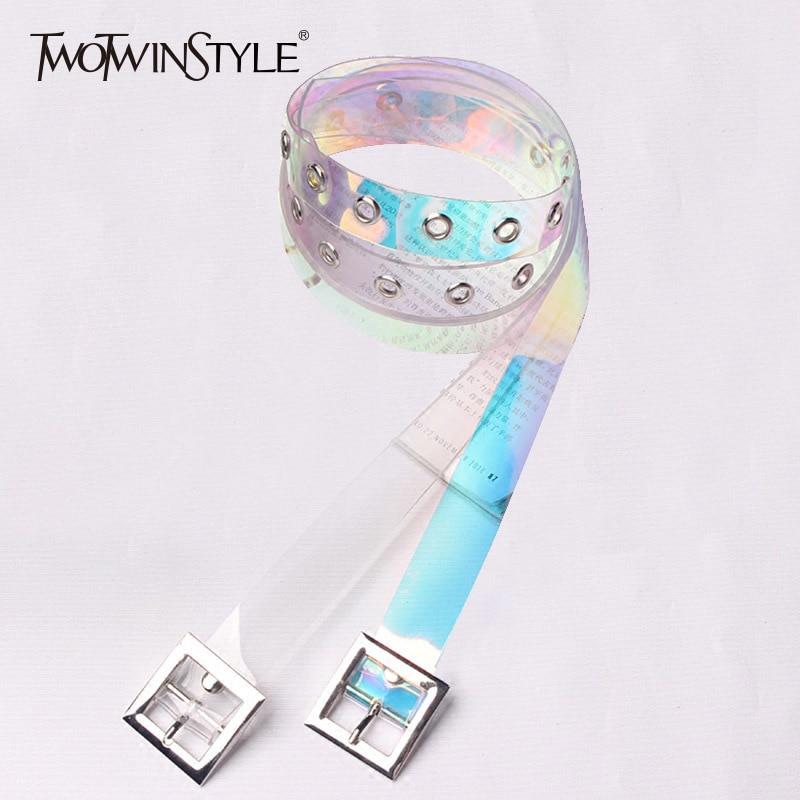 TWOTWINSTYLE Belt For Women Basic Transparent PVC Cummerbund Female 2020 Korean Casual Accessories