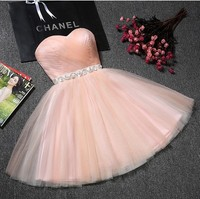 Beauty Lace Pink Champange Lace Evening Dresses Short Sweet Heart Long Party Prom Reflective Dresses 2019 Plus Size Party Gowns