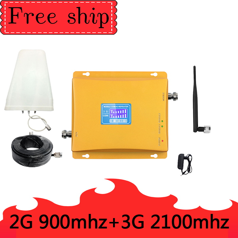 GSM 2G 900mhz WCDMA 3G 2100mhz Cellular Signal Booster   Dual Band Cellphone Repeater 900/2100 UMTS Signal Amplifier  Whip