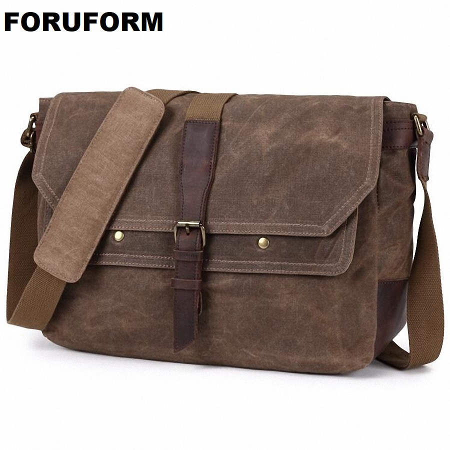 Vintage Mens Waterproof Canvas Bag Shoulder Bag Handbags Casual Travel Bags For Male Men's Business Laptop Shoulder Bags LI-2029