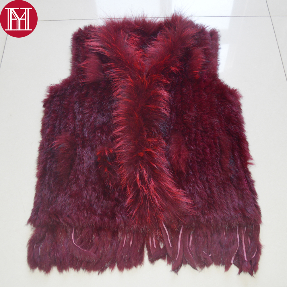 Hot Sale Women Real Rabbit Fur Vests 100% Real Genuine Rabbit Fur Knitted Gilet Tassels Raccoon Fur Collar Rabbit Fur Waistcoat