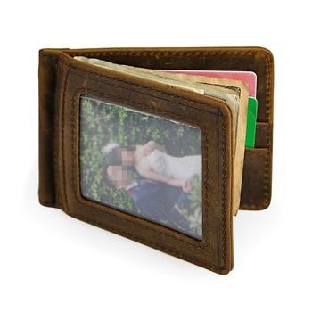 Male Genuine Leather Design Fashion Slim Wallet Front Pocket Magnet Money Clip Mini Bill Purse For Men 1099 fashion stripes and color matching design money clip for men