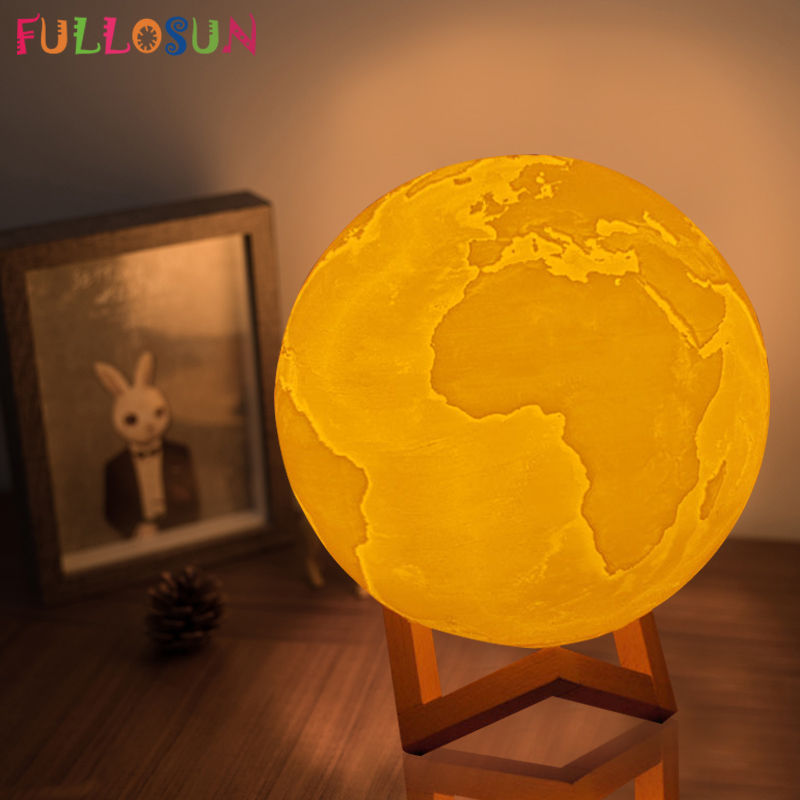 3D Light Print Earth Lamp Colorful Moon Lamp Rechargeable Touch USB LED Night Light Home Decor Creative Kids Baby Gift icoco usb rechargeable led magnetic foldable wooden book lamp night light desk lamp for christmas gift home decor s m l size