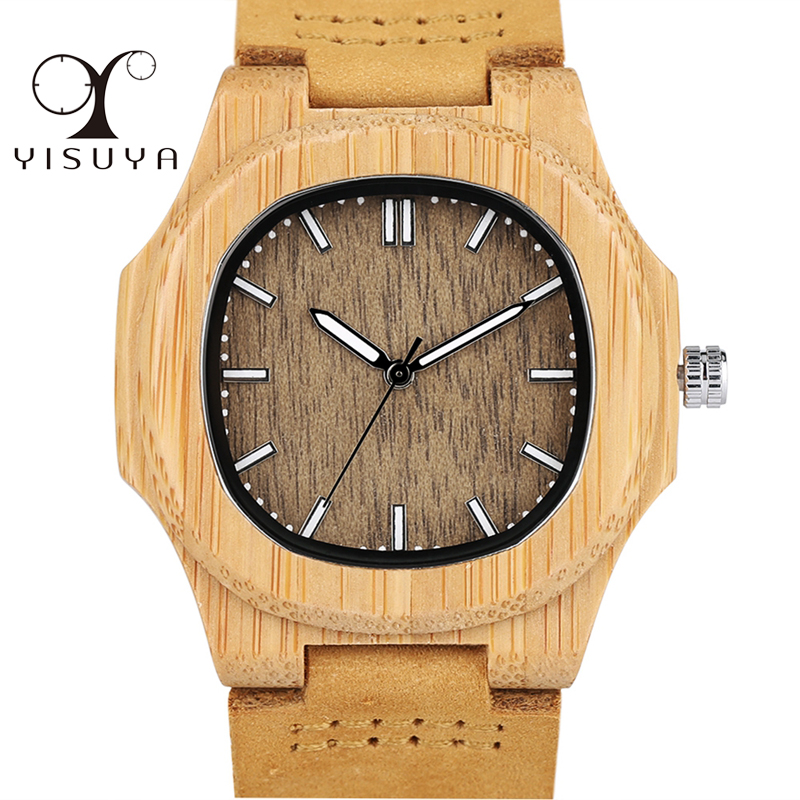 Men Women Wooden Watch Creative Round Shape Dial Light Wood Case Genuine Leather Band Bamboo Wood Clock Male Reloj de madera TOP yisuya bamboo wooden watch men unique design genuine leather band modern quartz creative watches women business wood clock gift