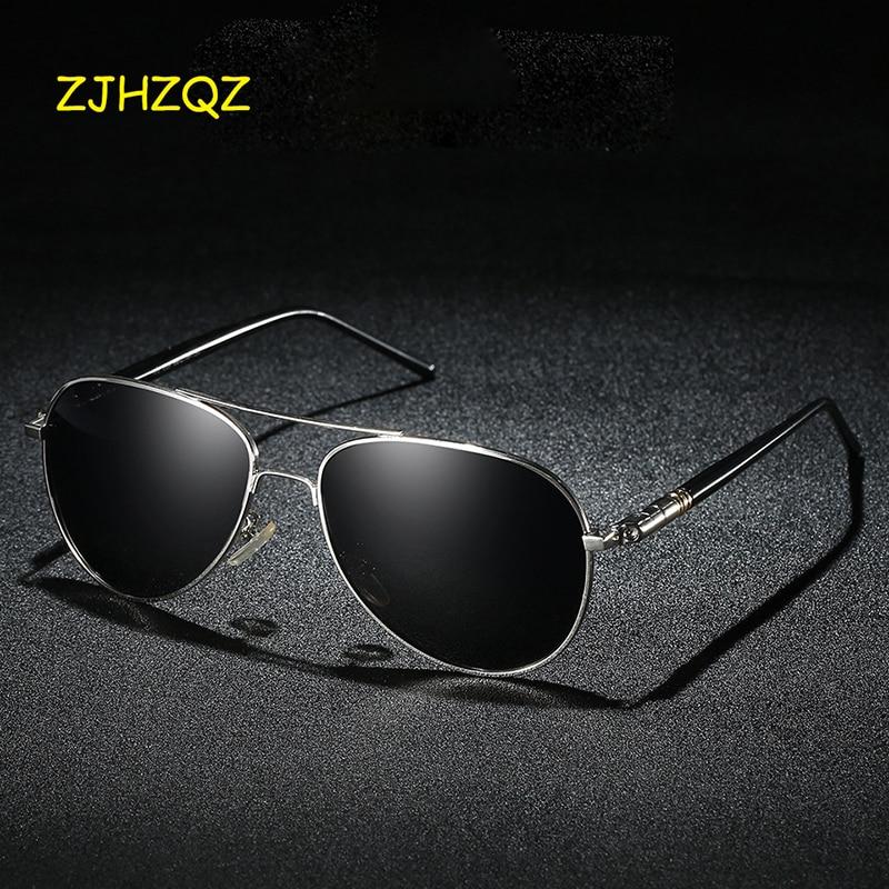 Aviation Metal Frame Quality Oversized Spring Leg Alloy Men Sunglasses Polarized Brand Design Pilot Male Sun Glasses Driving