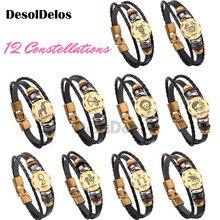 12pieces/lot 12 Constellations Men Women Braided Bracelet Cuff Leather Alloy Vintage Zodiac Signs Casual Punk Bracelets 2019 недорого