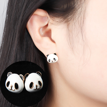 Lovely Panda Animal Shape Stud Earrings Cute Creative Sparkling Brand Small Earrings for Women Girls Jewelry Gift oorknopjes