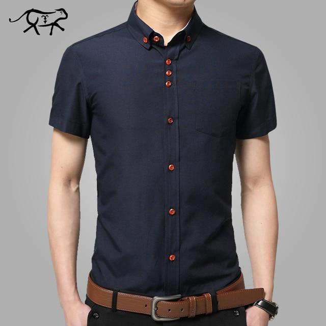 7a3ec1da4f7 Новинка 2018 Летняя мода с коротким рукавом рубашка мужская одежда для  отдыха Чистый цвет лацканы slim