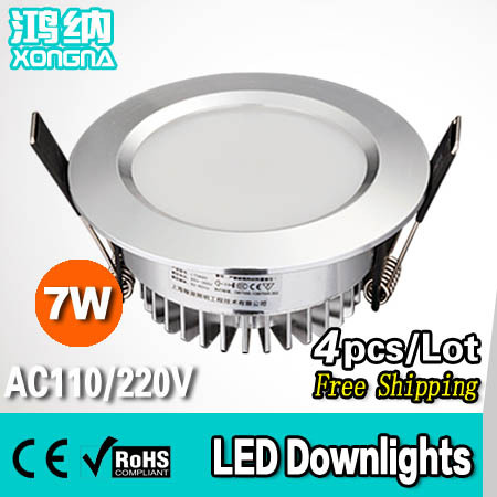 ФОТО 4pcs/Lot Free Shipping 7W LED Downlights High Lumen Epistar Chip LED 100-110 lm/W Warm White/Cold White