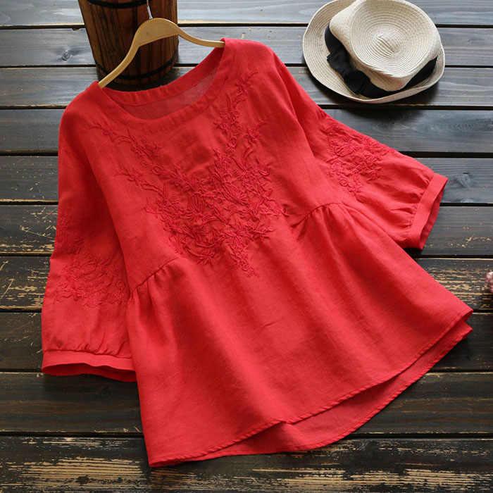 4632 קיץ נשים בציר רקמה בסוודרים רמלה חצי שרוול חולצה נשי רופף עממי מותאם אישית כותנה ופשתן חולצות חולצות