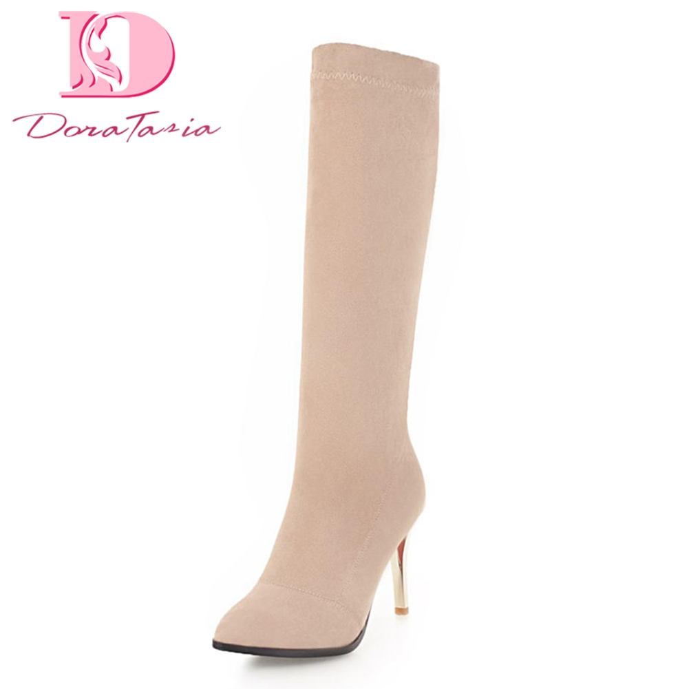 Doratasia 2018 Large Size 33-43 Brand Slip On Women Shoes Woman Fashion Thin High Heels Boots Woman Sexy Boots Female Shoes doratasia 2018 large size 34 43 chunky heels women boots shoes slip on over the knee high boots leisure fashion shoes woman