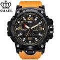 Smael marca men sport reloj dual display analógico digital led electrónico de cuarzo de relojes de hombre de natación impermeable relojes de pulsera masculino