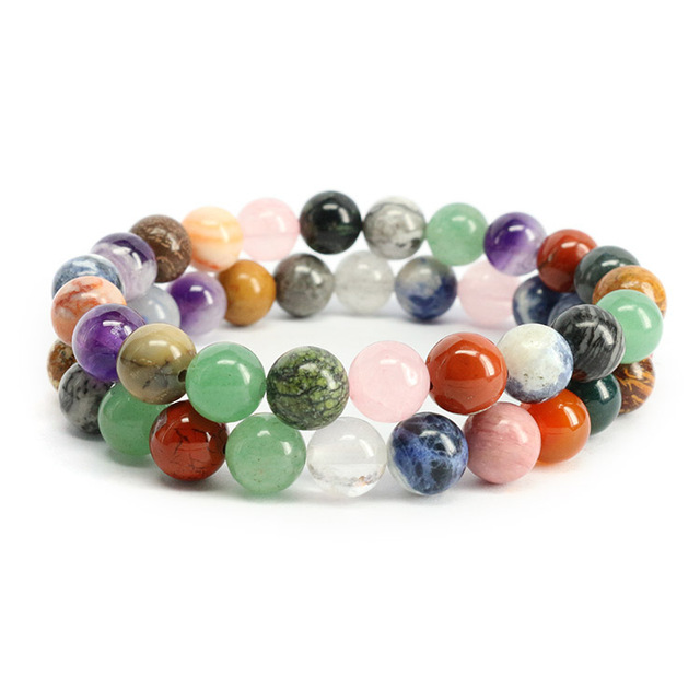 Forzio Mixed Gem Stone Beaded Stretch Bracelet Multicolor Semiprecious Beads Elastic Bracelets For Women