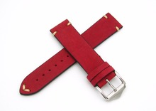 20 22mm Hot Sell New Women Genuine Cowhide Suede Leather Handmade Stitch Red Watch Band Strap Belt Silver Polished Pin Buckle