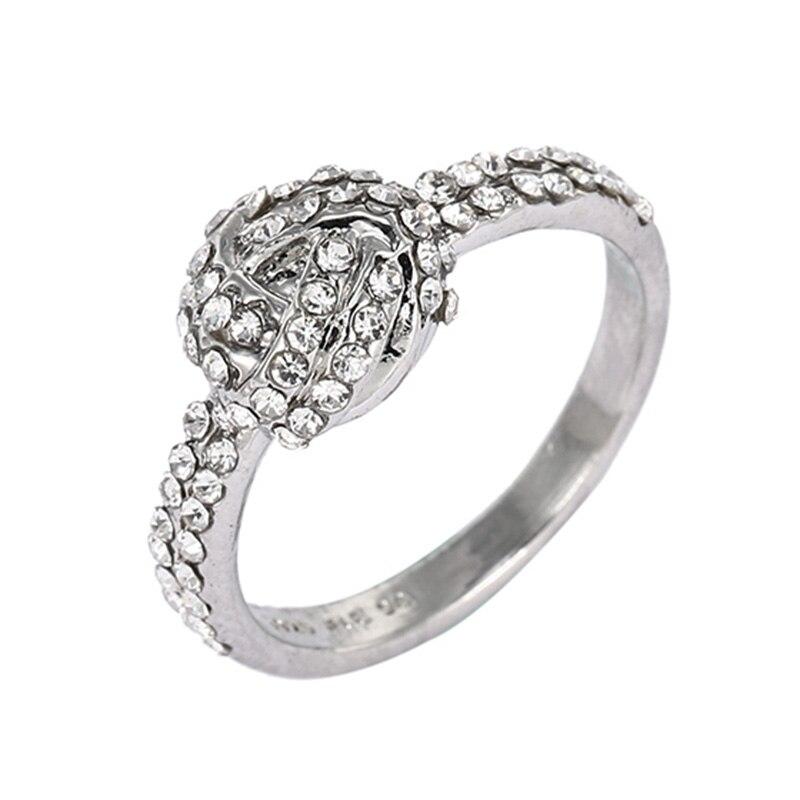 Горячая Распродажа серебряных колец с бантиком для женщин и девушек, сверкающий циркон, подходящие для тонких колец, свадебные ювелирные изделия, Прямая поставка - Цвет основного камня: N39