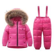 Russian Winter Warm Baby Boys Girls snowsuit Children Duck Down coats jacket with fur hood Thick kids ski snow suit clothes set