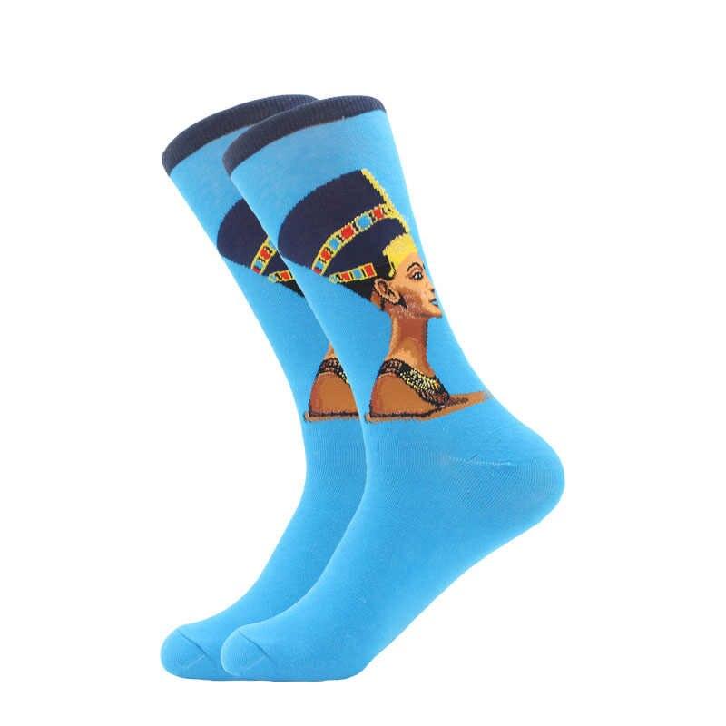LETSBUY 1 คู่ผ้าฝ้ายที่มีสีสัน Van Gogh ภาพวาดสีน้ำมัน Retro ถุงเท้าผู้ชาย Cool ชุดลำลองตลกพรรคลูกเรือถุงเท้า
