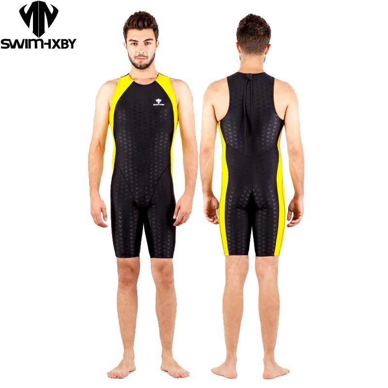 HXBY swimwear men one piece swimsuit competition racing swimwuit ironman triathlon suit sharkskin male training suit competition racing one piece swimsuit