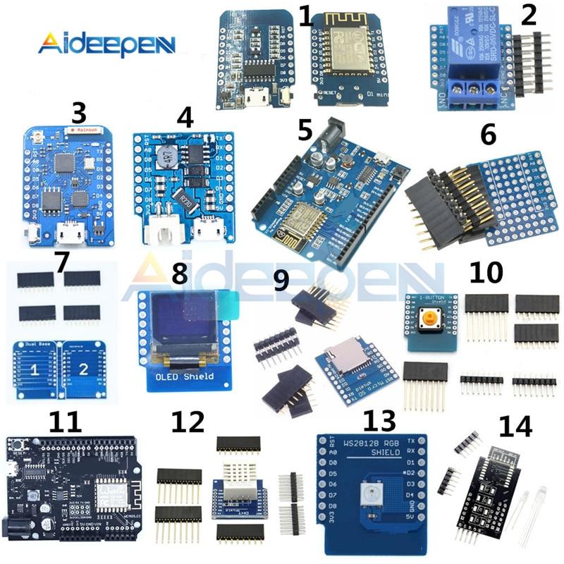 WeMos D1 gamme complète de Kit ESP8266 Wifi Mini ESP-12F/12E DHT22 AM2320 CP2104 CH340 Module relais développement de carte SD platine de prototypage