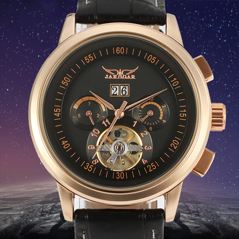 JARGAR Tourbillon Automatic Black Genuine Leather Strap Dress Wrap Gift Casual Self Wind Genuine Leather forsining latest design men s tourbillon automatic self wind black genuine leather strap classic wristwatch fs057m3g4 gift box