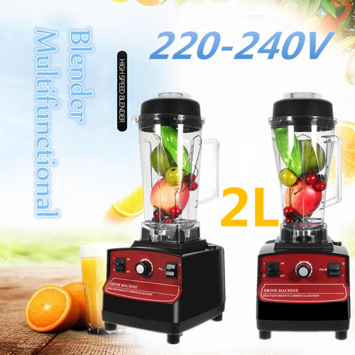AU/EU Plug Commercial-Blender 2L 1200W 220-240V Fruit Smoothie Mixer Juicer Machine Food Processor Stainless Steel Cutting купить в Москве 2019