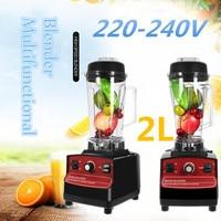 AU/EU Plug Commercial Blender 2L 1200W 220 240V Fruit Smoothie Mixer Juicer Machine Food Processor Stainless Steel Cutting