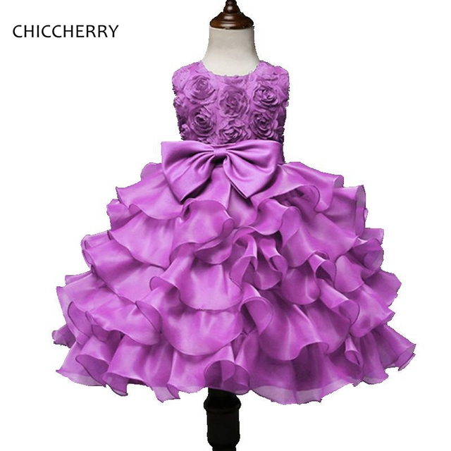 3D Rose Lavender Summer Baby Girl Dress Big Bowknot Prom Dresses Girls Graduation Gowns Children Clothing Bosudhsou Kids Clothes