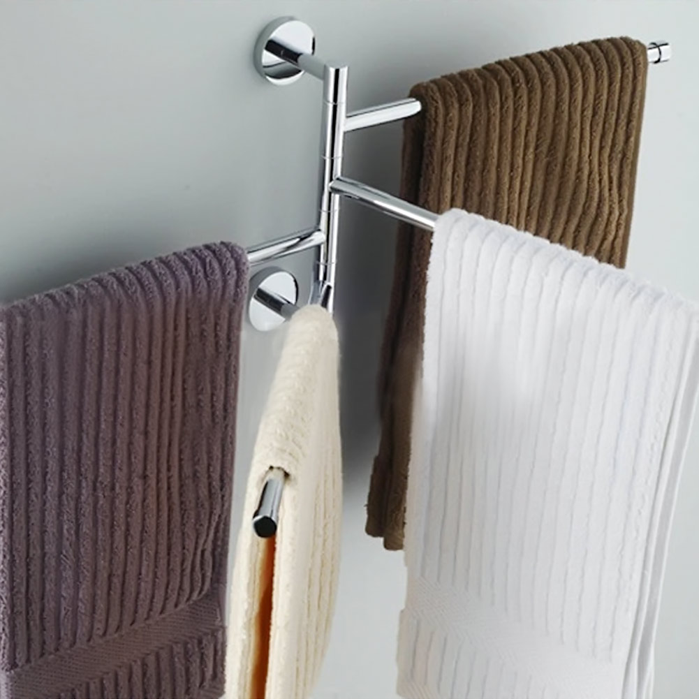 Four Bar Towel Hanging The Whole Solid Stainless Steel Rack Movable Rotating Bathroom Shelf
