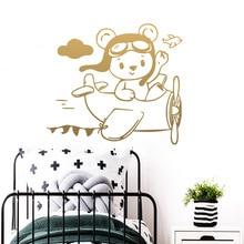 Cute Aviator Bear Removable Art Vinyl Wall Sticker Decor For Kids Room Nature Decoration Decal Stickers Murals wallstickers