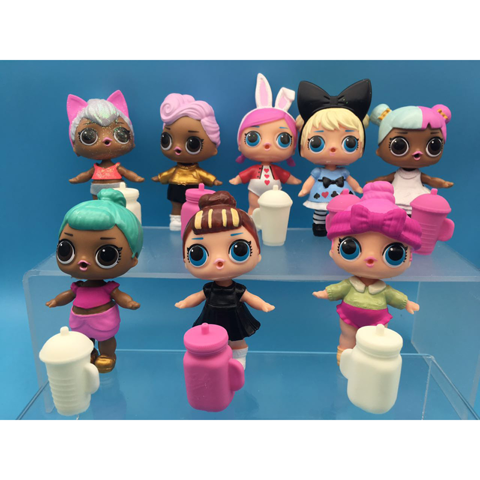 with Function 6pcs 8pcs/set lol dolls PVC Action Figure glitter Doll Toy Kids Doll Toys Birthday Gift For Girls Kids