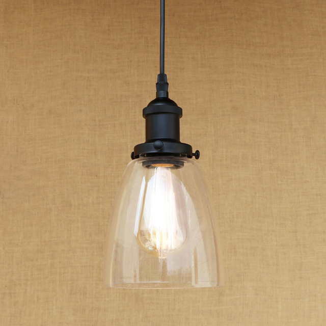 Modern E Shapes Clean Glass Shade Pendant Lamp LED Edison Bulb - Kitchen pendant lighting glass shades