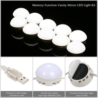 12 /10 LEDs Makeup Mirror Vanity Mirror Light Bulbs Kit Adjustable Brightness USB Charging Port DIY Comestic Lamp with Dimmer