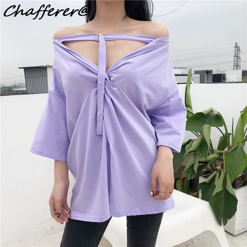 Chafferer Both Sides Wear Korean Ulzzang Tshirt Women Strange Girls Off Shoulder Tops Hollow Out Irregular Backless Tie T-shirt