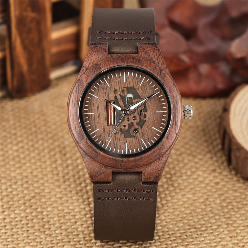 Wooden Couple Watch Quartz Leather Band Handmade Walnut Wood Watches Hollow Dial Valentine 39 s Day Lover Gift reloj para parej in Lover 39 s Watches from Watches