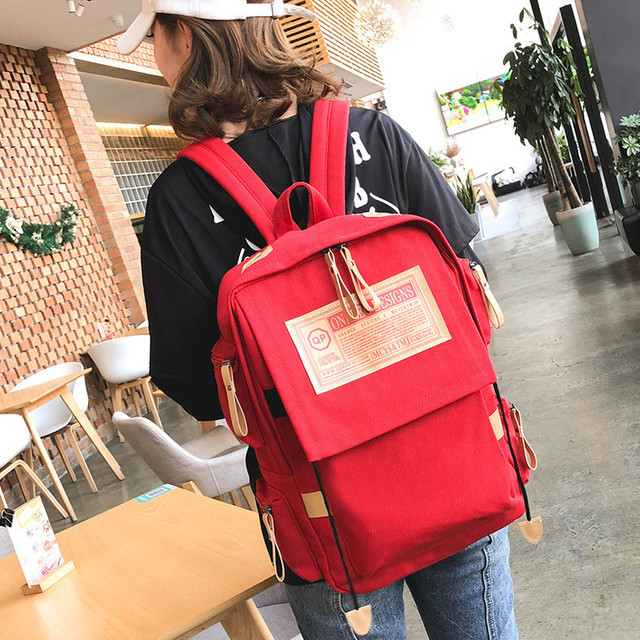 Fashion backpack women shoulder Bag School bags for teenager girls boys casual solid backpack school 4