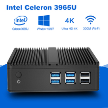 4K Mini PC Intel Celeron 3965U HD Graphics 610 Windows 10 HDMI VGA WiFi Fanless Micro Desktop PC TV Box