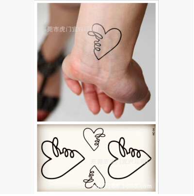 Temporary Tattoo Sticker Waterproof Small love heart couple models arm leg hand finger Fake Spray Tranfer Body Art Makeup