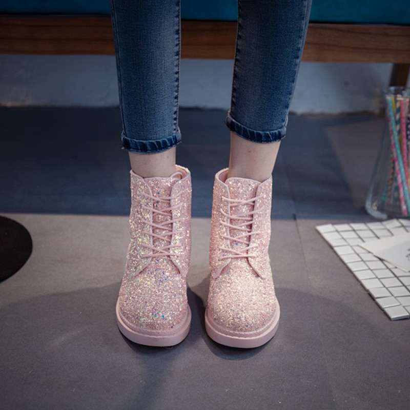 Women Glitter Lace up Ankle Boots  2