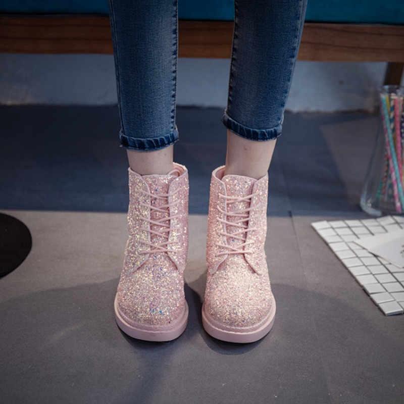 COOTELILI Tasarımcıları Marka Kadın yarım çizmeler Topuklu kadın ayakkabısı Kadın Sonbahar Glitter Lace up Çizmeler Rahat Bling Pembe Siyah Beyaz