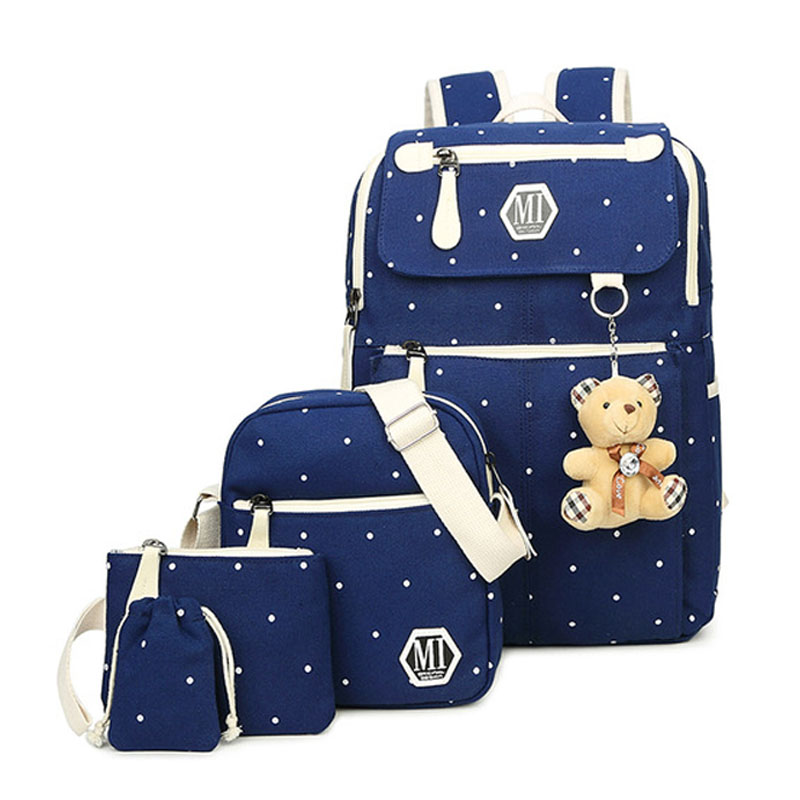 Image 2 - Women Canvas 4Pcs/set School Backpacks College Schoolbag Fashion Plecak for Teenager Girl And Boys Rucksack Moclila Shoulder Bag-in School Bags from Luggage & Bags
