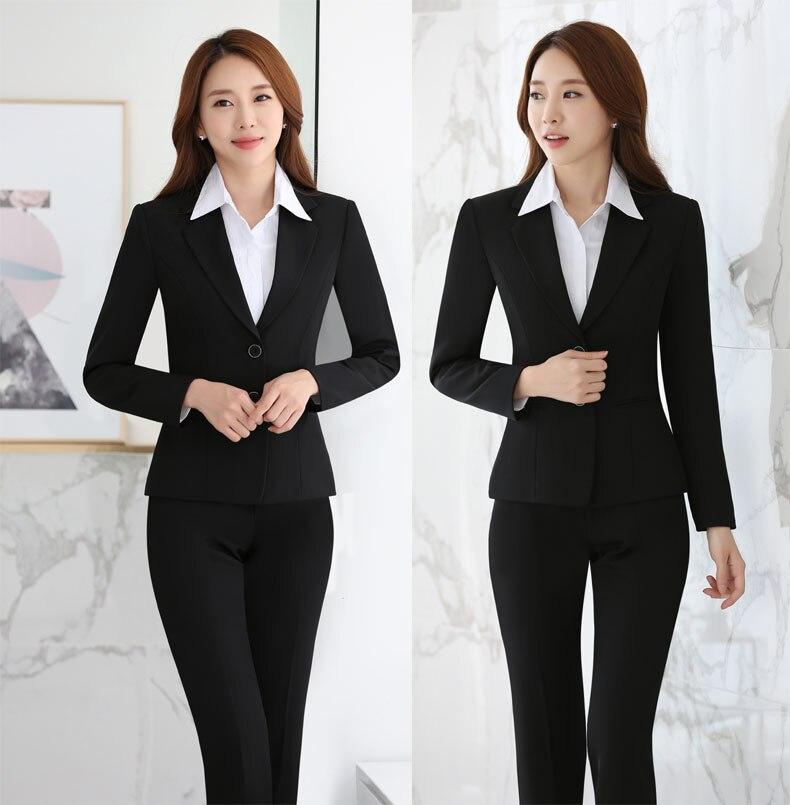 b0566e3586e8 Progettazione Autunno black Blue Giubbotti Professionale Per Di E 2019 Con  Donne Le Inverno Tailleur Formale Uniforme Pantalone Femminile Vestiti ...