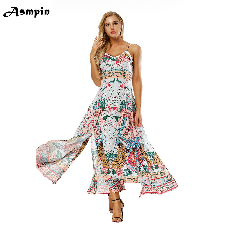 a4d181a32a5 2018 Fashion hawaii Dress vestido Classic Print Maxi Summer Dress Beach  Clothes Long Beach Bohemian Sexy Ladies Summer plus size