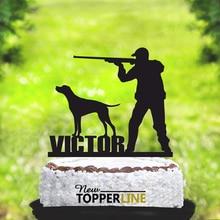 Охотничий Топпер для торта с именем на заказ, топпер для торта с собакой, Топпер для торта с силуэтами охотников, топпер для торта на день рож...
