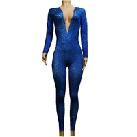 Sparkly Full Blue Rhinestones Jumpsuit Women One Piece Stretch Bodysuit Nightclub Party Outfit Singer Dancer Performance Costume